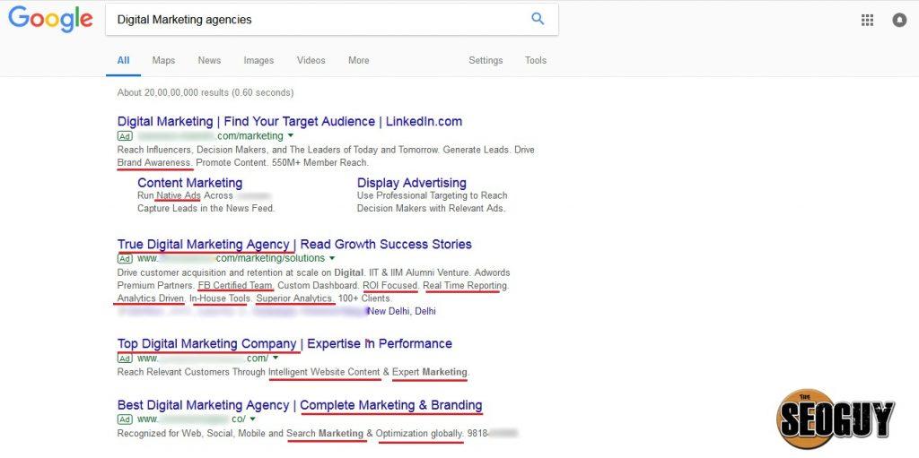 Digital marketing agencies competitor keywords