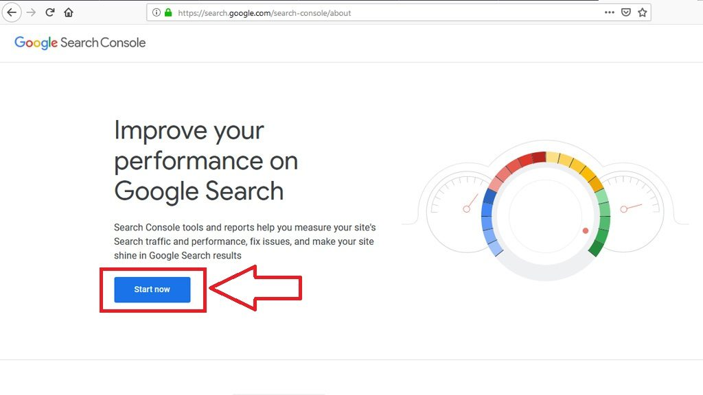 new google search console login step 1
