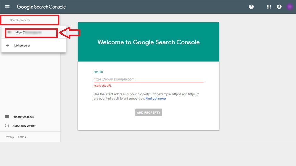 new google search console login step 2