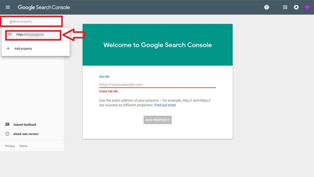 new google search console login step 2