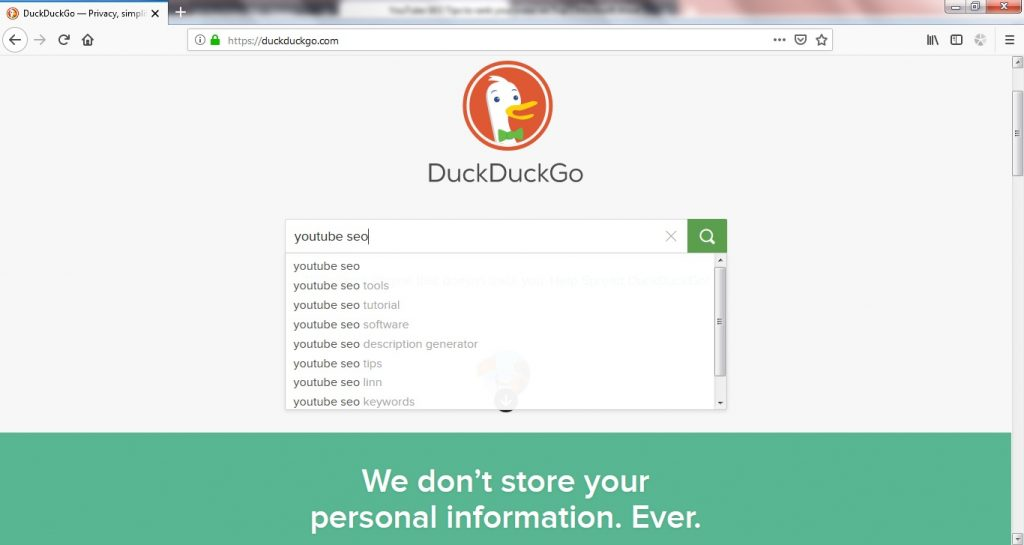 youtube seo tips DuckDuckGo auto fill