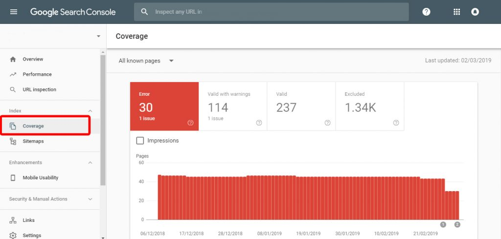 Search Console step 1 - fix 404 errors on your website
