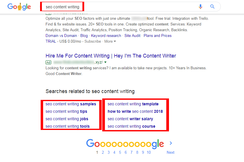 seo content writing suggestive keywords