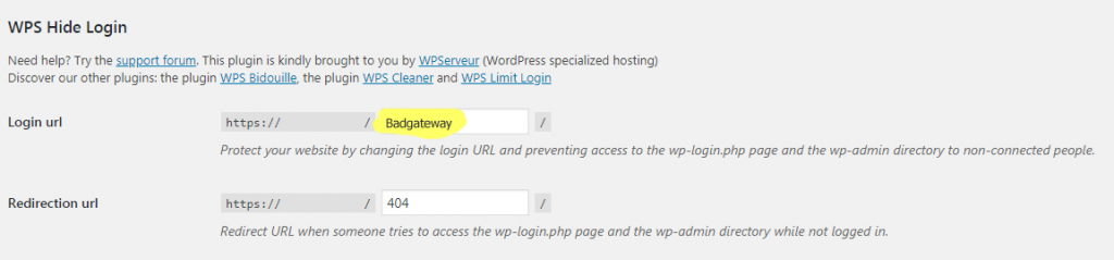 wordpress login hide plugin settings
