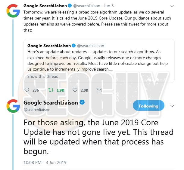 Google Core Update June 2019