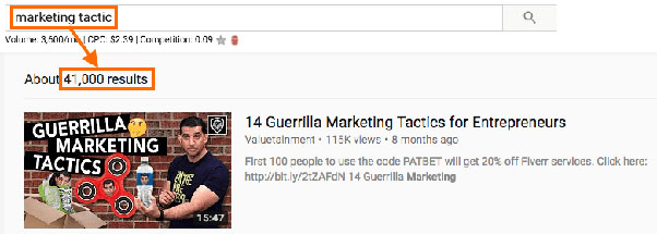 content marketing competition example-YouTube SEO