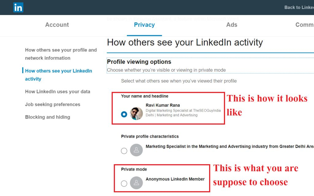 competitor analysis steps to spy on linked in step 2