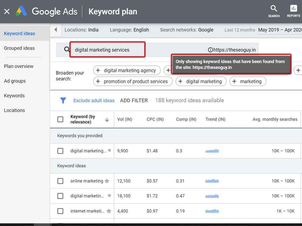 keyword planner keyword research step 2